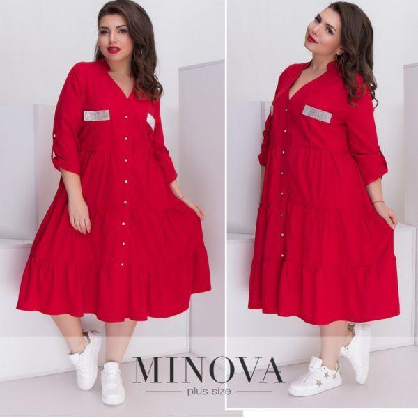 Свободное красное платье