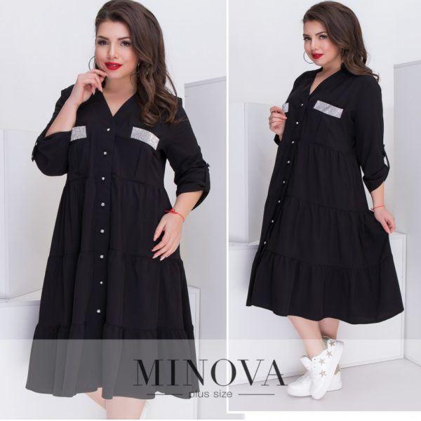 Свободное черное платье