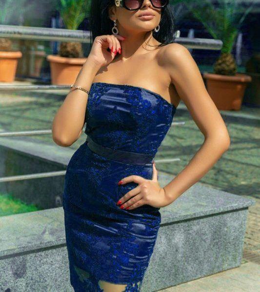 синее облегающее платье
