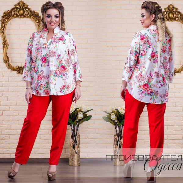 красные брюки с блузкой