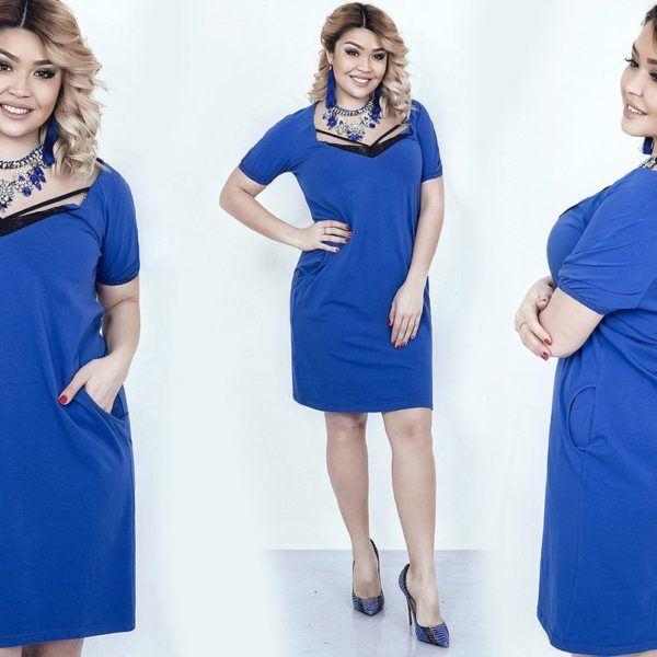 трикотажное платье с короткими рукавами