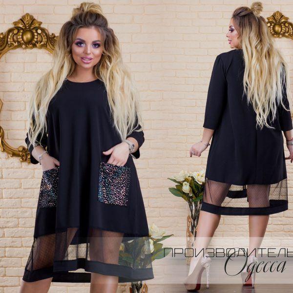 Черное красивое праздничное платье