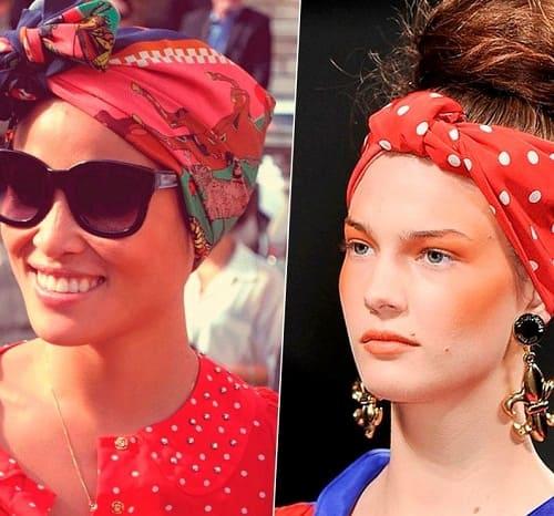 девушки в шелковых платках на голове