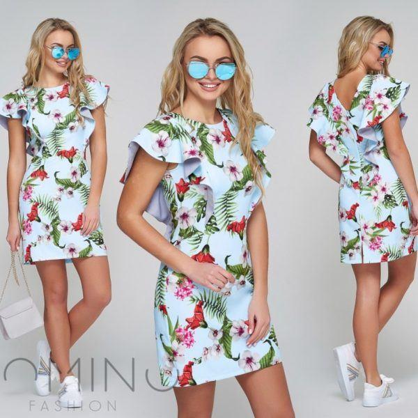 платье летнее с воланами на рукавах