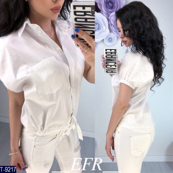 белая блузка с завязками снизу