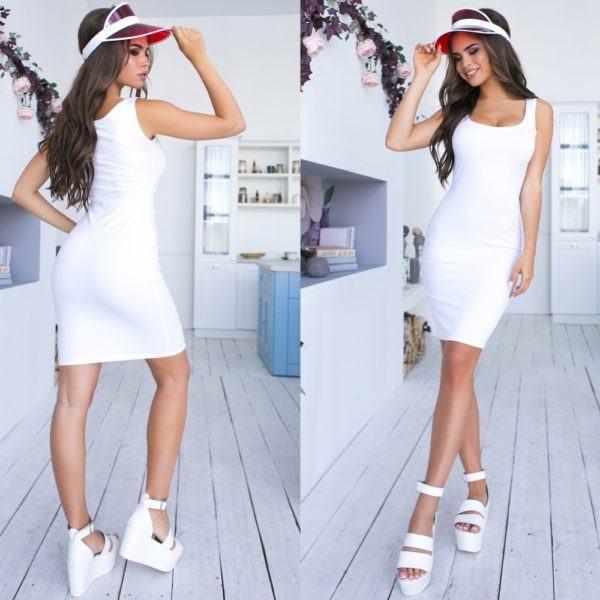 белое платье майка
