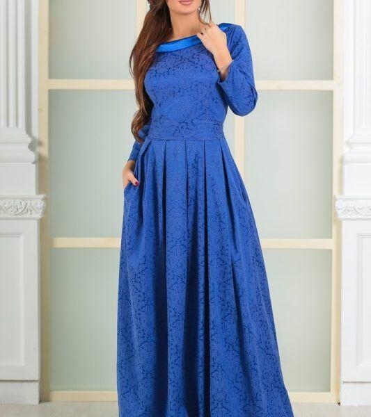 синее вечернее длинное платье