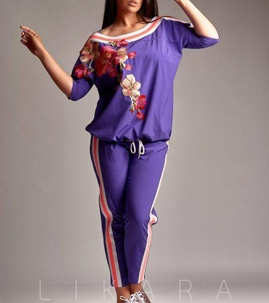 костюм с лампасами фиолетовый