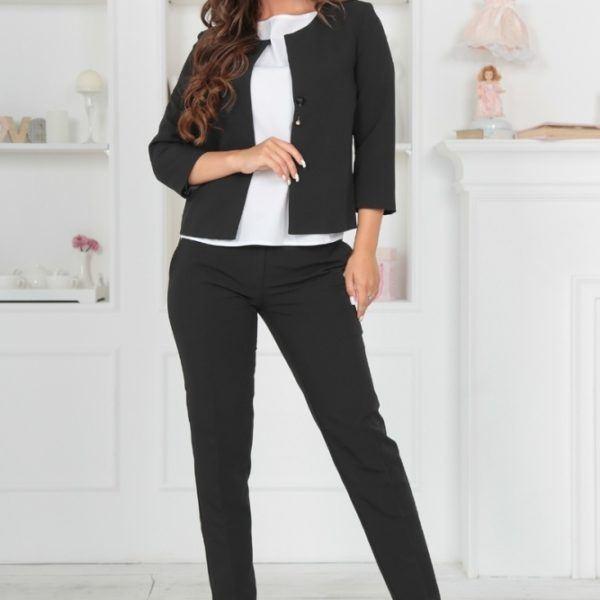 черные женские брюки с пиджаком