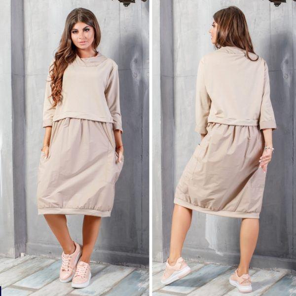 комбинированное платье в стиле оверсайз