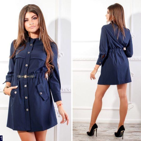 синее платье рубашка