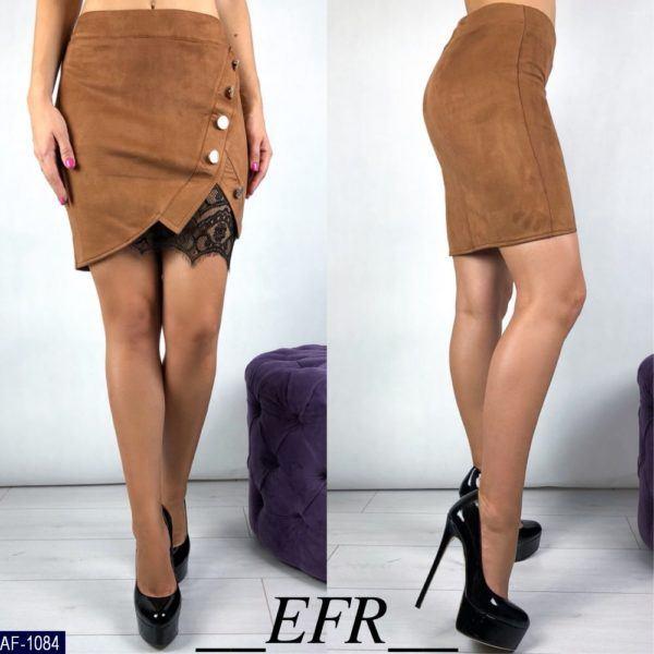 Замшевая короткая юбка