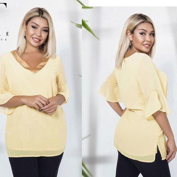 желтая блуза из шифона