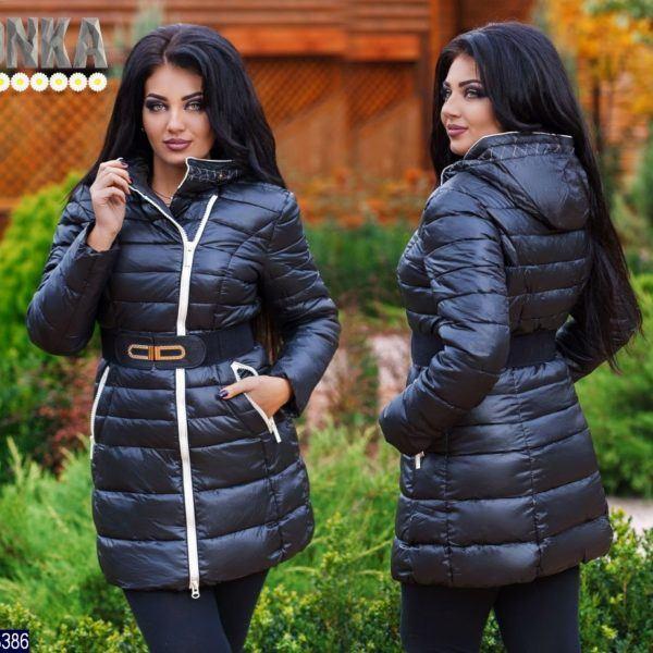 Теплая женская куртка с поясом