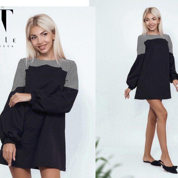 черное расклешенное платье