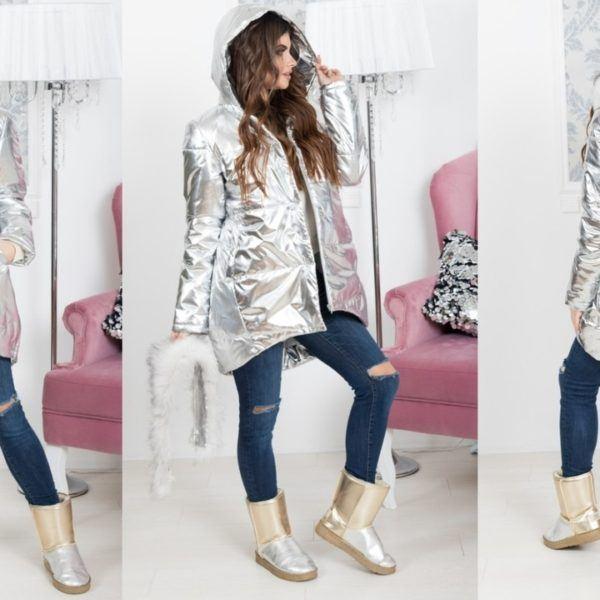 Зимняя серебристая куртка