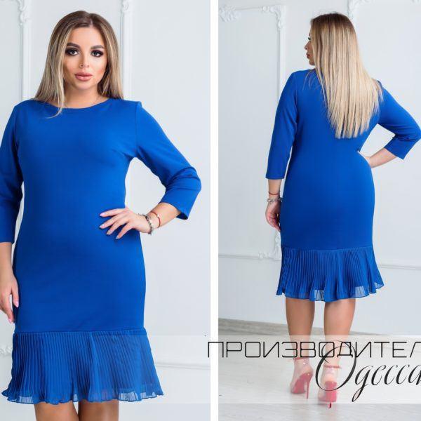 Стильное однотонное платье