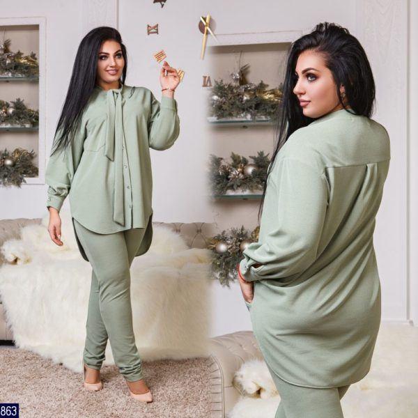 Удлиненная блузка с брюками