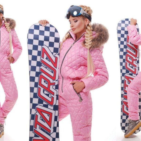 розовый лыжный комбинезон