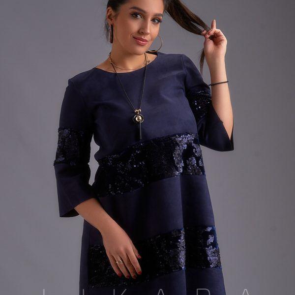Темно синее замшевое платье