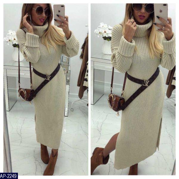 длинное вязанное платье с горлом