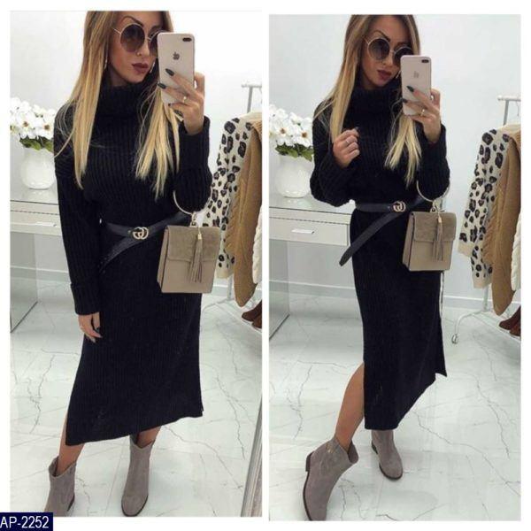 черное вязанное платье с горлом