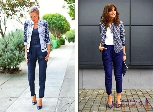 девушки в синих брюках на каблуках