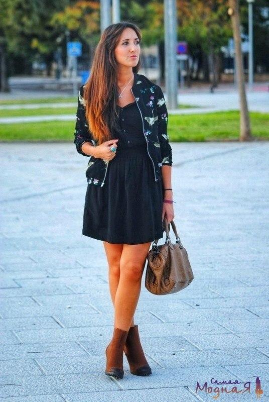 короткое черное платье с курткой бомбер
