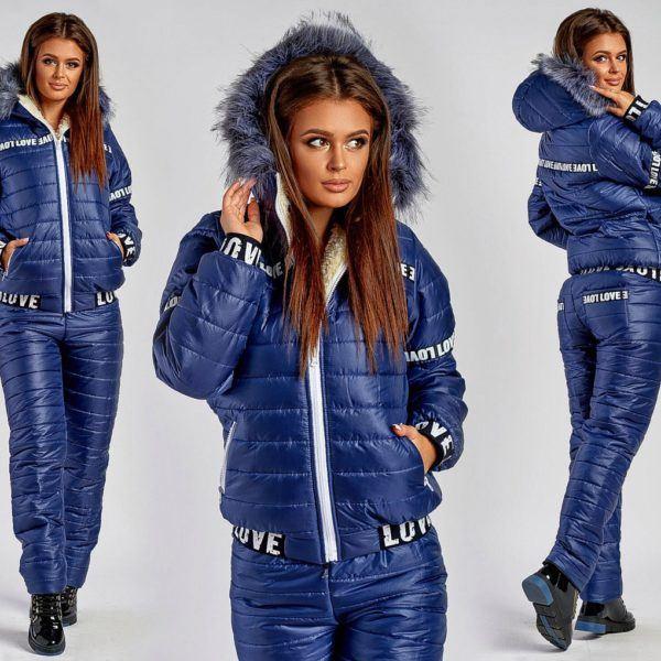 Синий теплый женский костюм