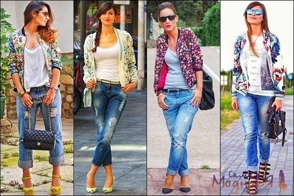 девшука в летних джинсах с дырками