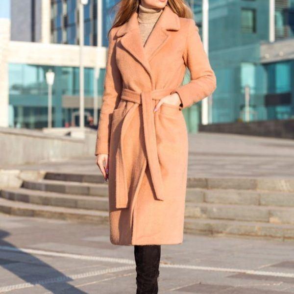 пальто до колена с поясом