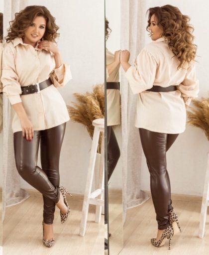 кожаные брюки с блузкой