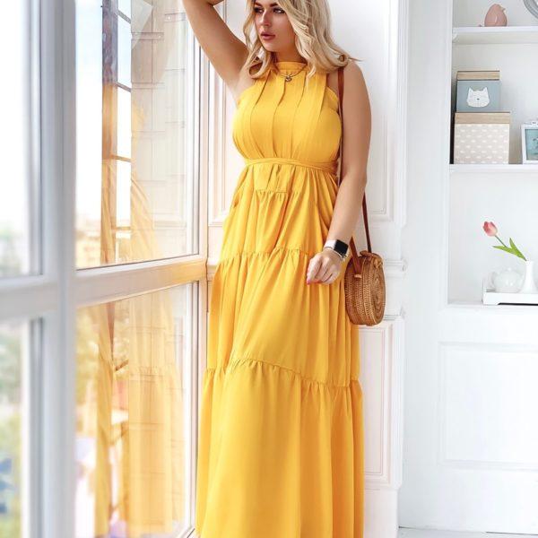 Длинное нарядное платье на завязках