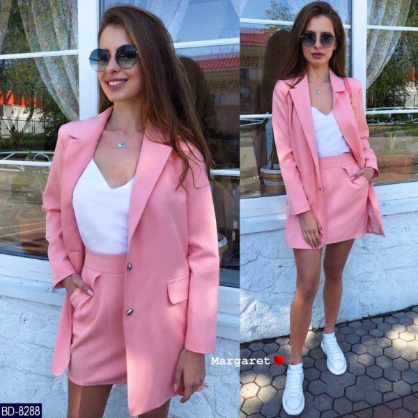 розовый пиджак с юбкой