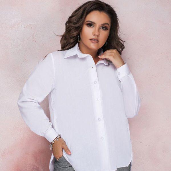 Белая рубашка удлиненная сзади