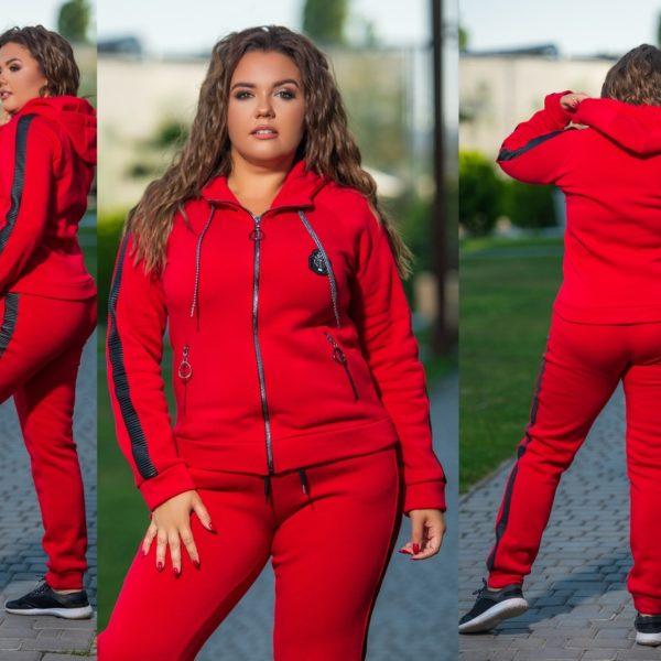 красный теплый костюм