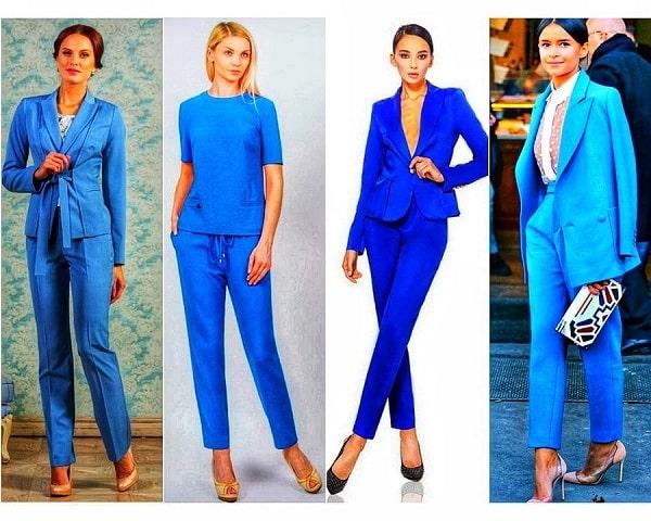 женщины в голубых костюмах