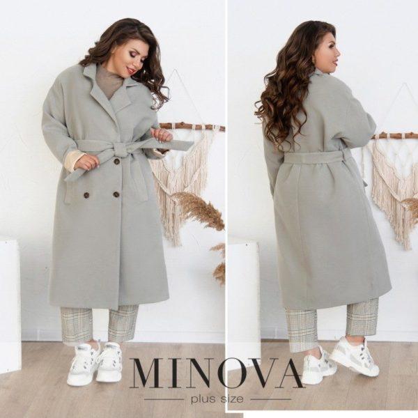 серое теплое пальто
