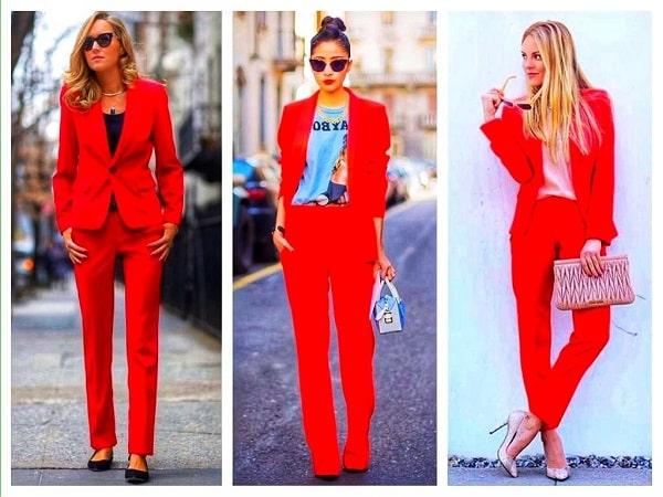 модные женщины в красном