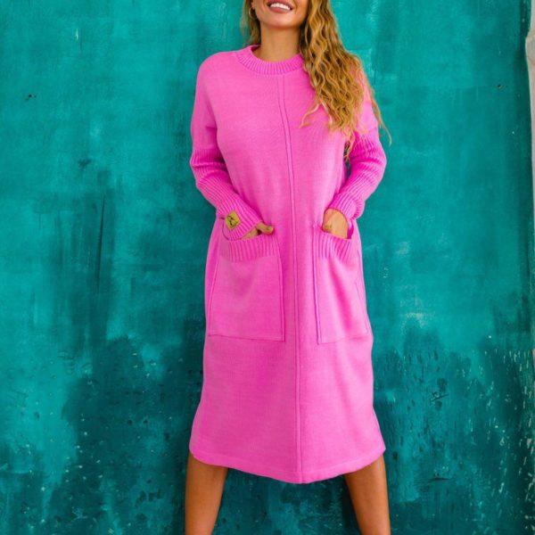 вязаное свободное платье