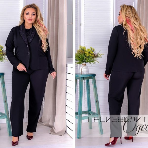 черный строгий женский костюм