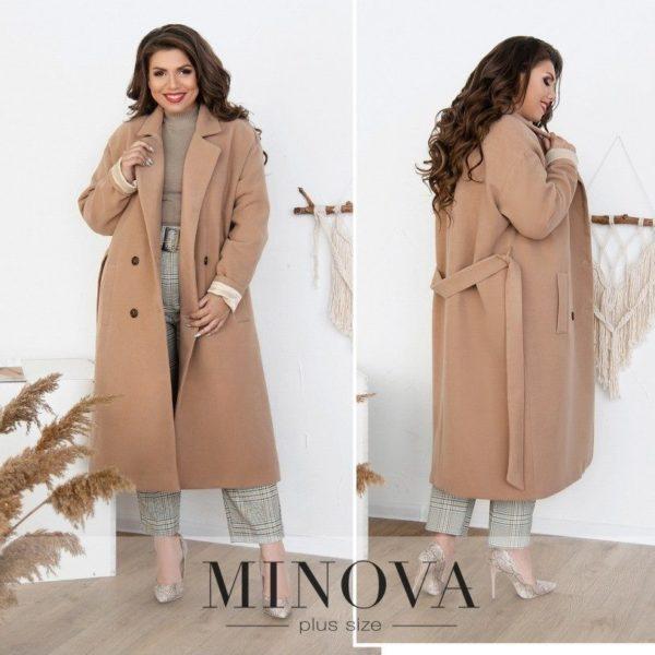 бежевое пальто большой размер