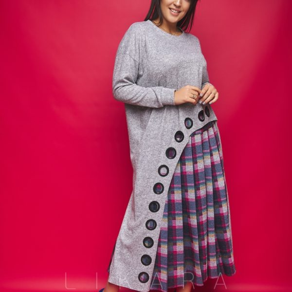 Костюм с длинной юбкой в складку