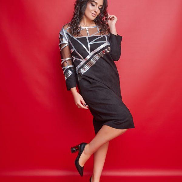 черное замшевое платье