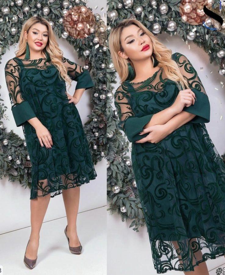 зеленое праздничное платье