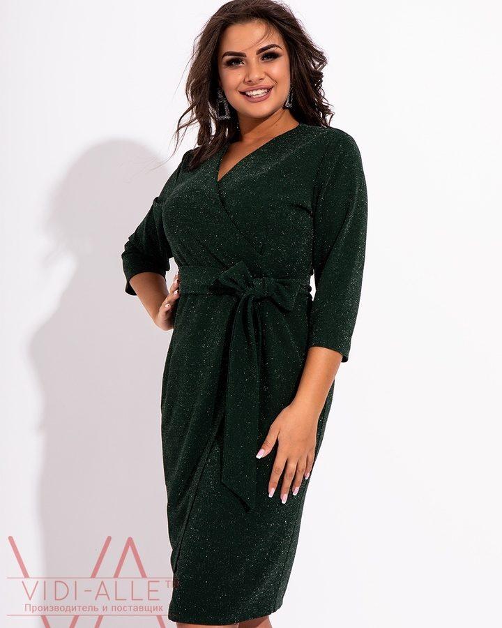 Зеленое праздничное платье миди